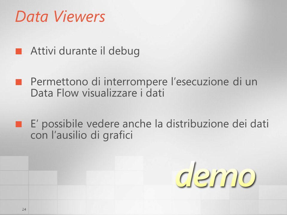 24 Data Viewers Attivi durante il debug Permettono di interrompere lesecuzione di un Data Flow visualizzare i dati E possibile vedere anche la distribuzione dei dati con lausilio di grafici