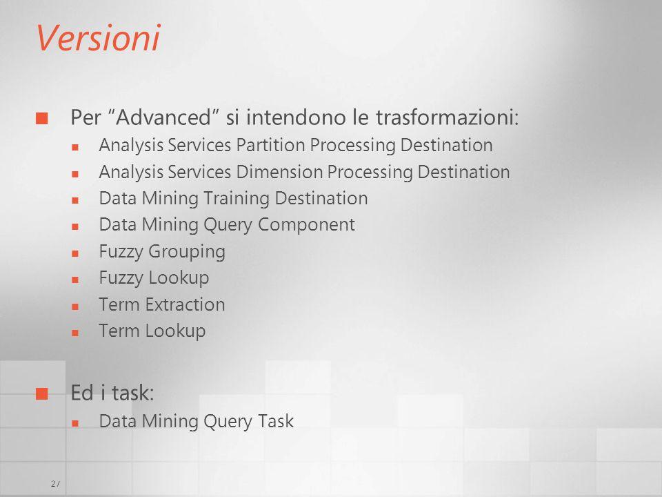 27 Versioni Per Advanced si intendono le trasformazioni: Analysis Services Partition Processing Destination Analysis Services Dimension Processing Des