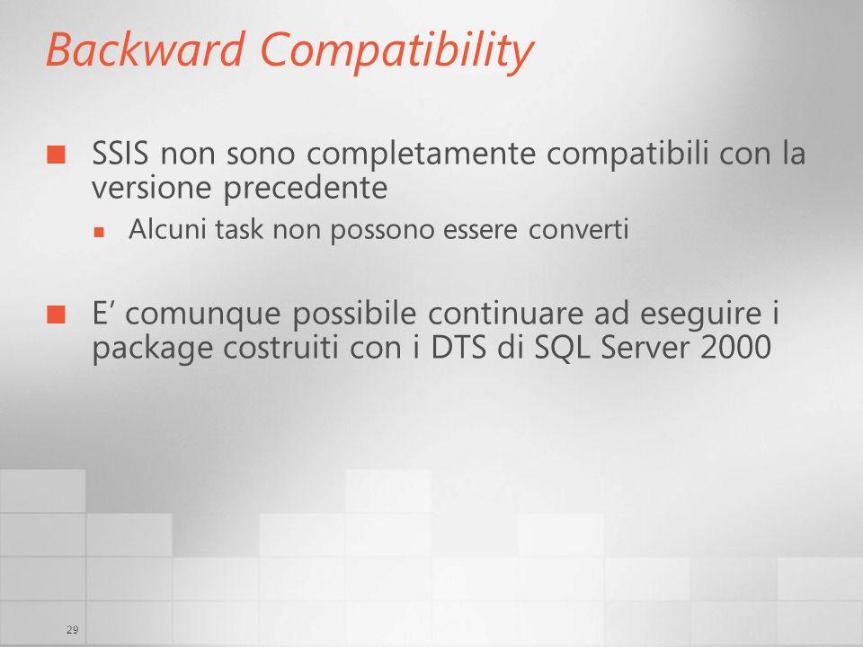 29 Backward Compatibility SSIS non sono completamente compatibili con la versione precedente Alcuni task non possono essere converti E comunque possibile continuare ad eseguire i package costruiti con i DTS di SQL Server 2000