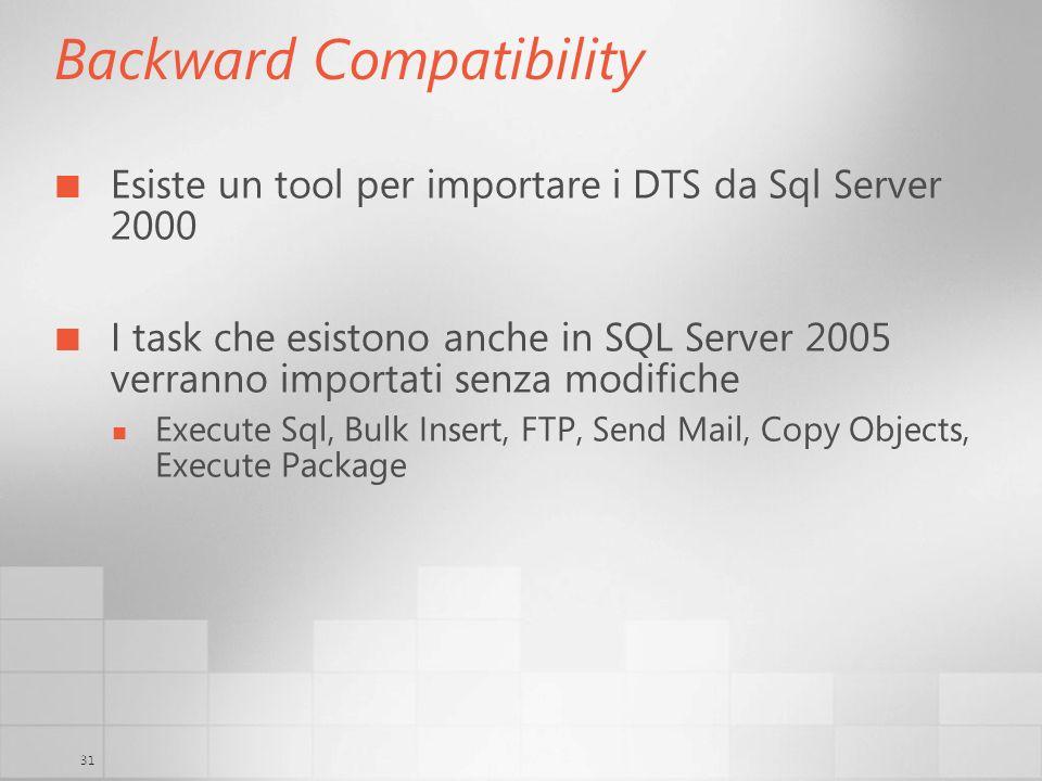 31 Backward Compatibility Esiste un tool per importare i DTS da Sql Server 2000 I task che esistono anche in SQL Server 2005 verranno importati senza