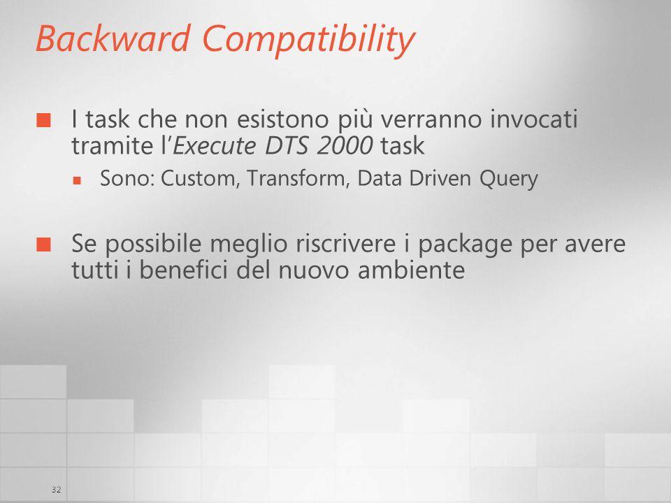 32 Backward Compatibility I task che non esistono più verranno invocati tramite lExecute DTS 2000 task Sono: Custom, Transform, Data Driven Query Se possibile meglio riscrivere i package per avere tutti i benefici del nuovo ambiente