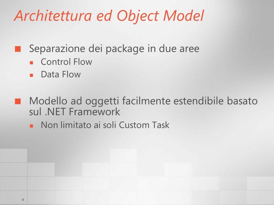 4 Architettura ed Object Model Separazione dei package in due aree Control Flow Data Flow Modello ad oggetti facilmente estendibile basato sul.NET Framework Non limitato ai soli Custom Task