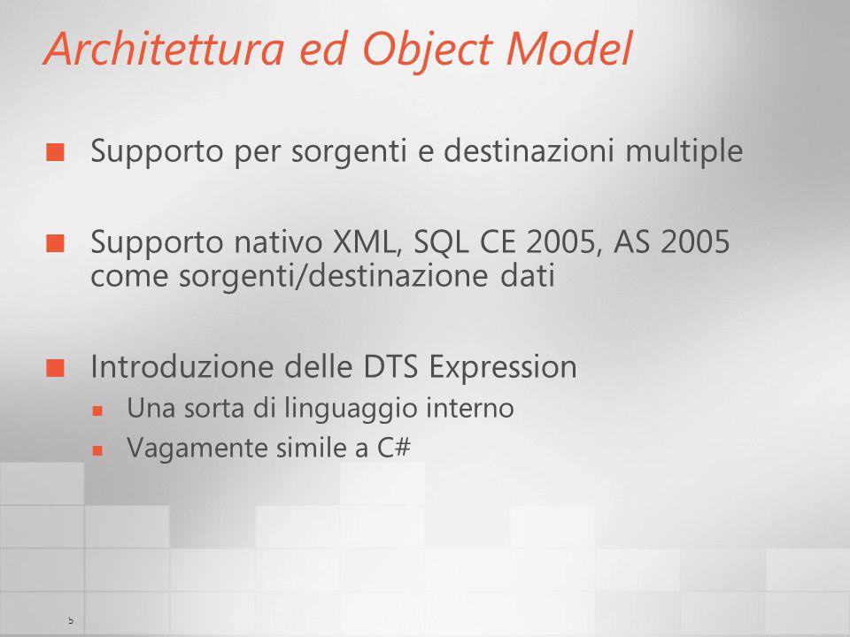 5 Architettura ed Object Model Supporto per sorgenti e destinazioni multiple Supporto nativo XML, SQL CE 2005, AS 2005 come sorgenti/destinazione dati Introduzione delle DTS Expression Una sorta di linguaggio interno Vagamente simile a C#