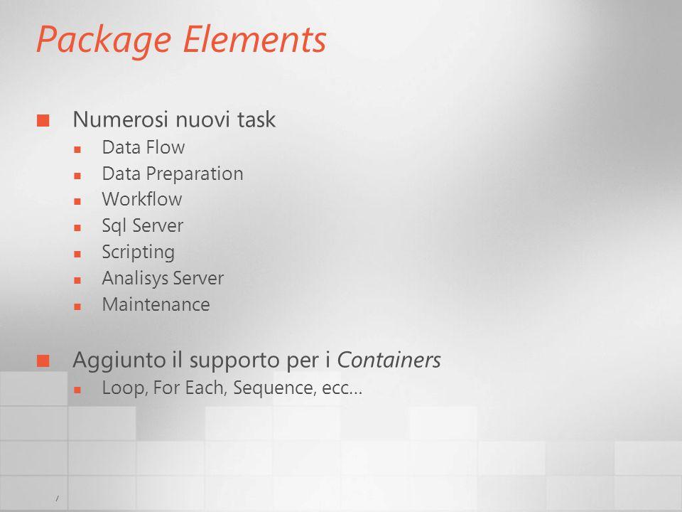 7 Package Elements Numerosi nuovi task Data Flow Data Preparation Workflow Sql Server Scripting Analisys Server Maintenance Aggiunto il supporto per i