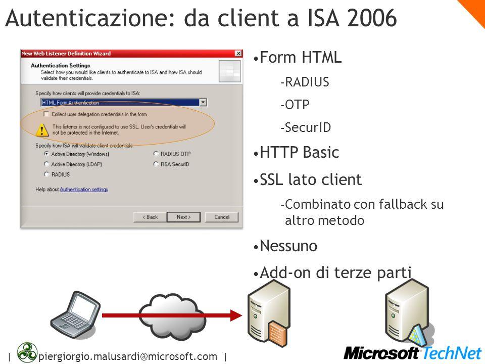 | piergiorgio.malusardi@microsoft.com | Autenticazione: da client a ISA 2006 Form HTML – RADIUS – OTP – SecurID HTTP Basic SSL lato client – Combinato