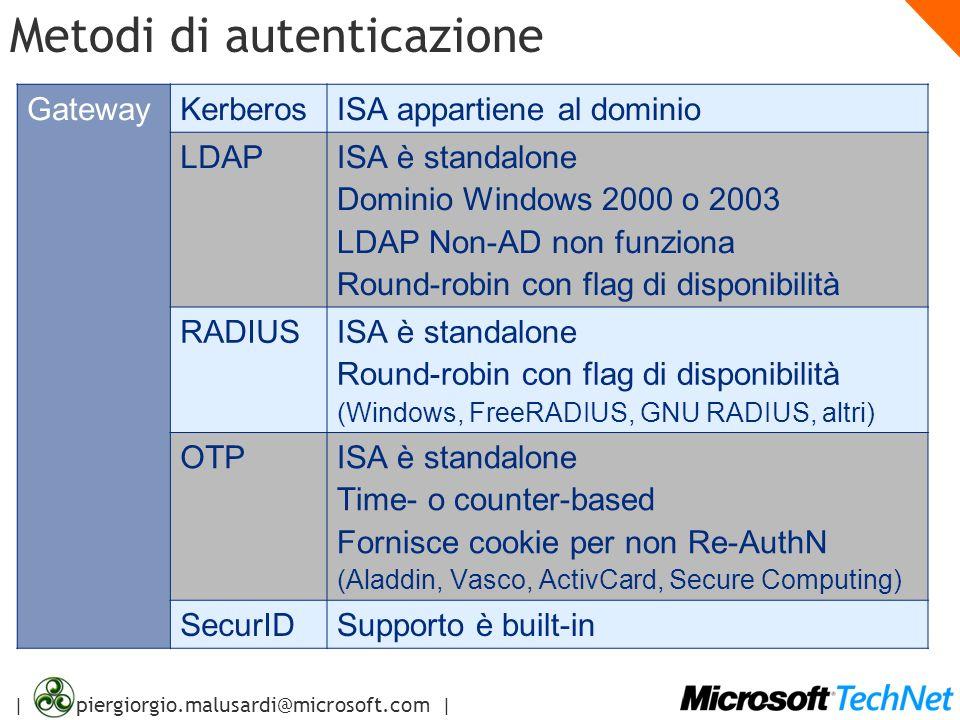 | piergiorgio.malusardi@microsoft.com | Metodi di autenticazione GatewayKerberosISA appartiene al dominio LDAPISA è standalone Dominio Windows 2000 o