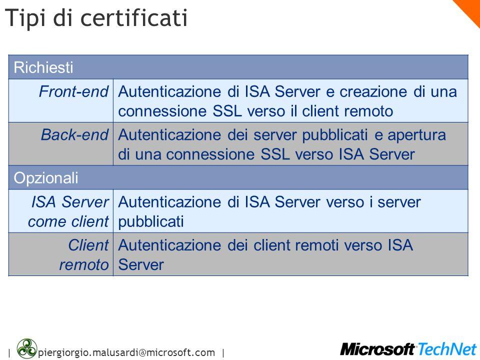 | piergiorgio.malusardi@microsoft.com | Tipi di certificati Richiesti Front-endAutenticazione di ISA Server e creazione di una connessione SSL verso i