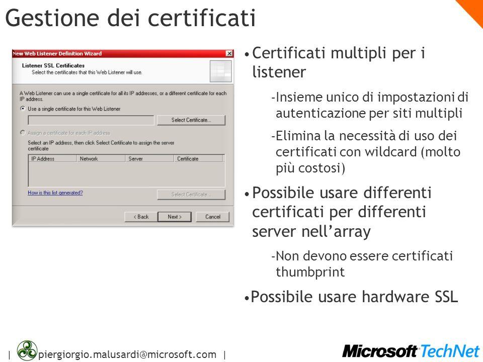 | piergiorgio.malusardi@microsoft.com | Gestione dei certificati Certificati multipli per i listener – Insieme unico di impostazioni di autenticazione