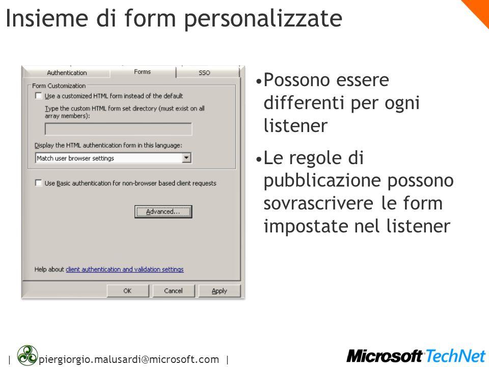 | piergiorgio.malusardi@microsoft.com | Insieme di form personalizzate Possono essere differenti per ogni listener Le regole di pubblicazione possono