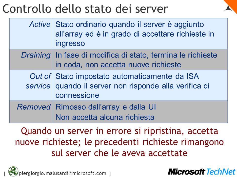 | piergiorgio.malusardi@microsoft.com | Controllo dello stato dei server ActiveStato ordinario quando il server è aggiunto allarray ed è in grado di a