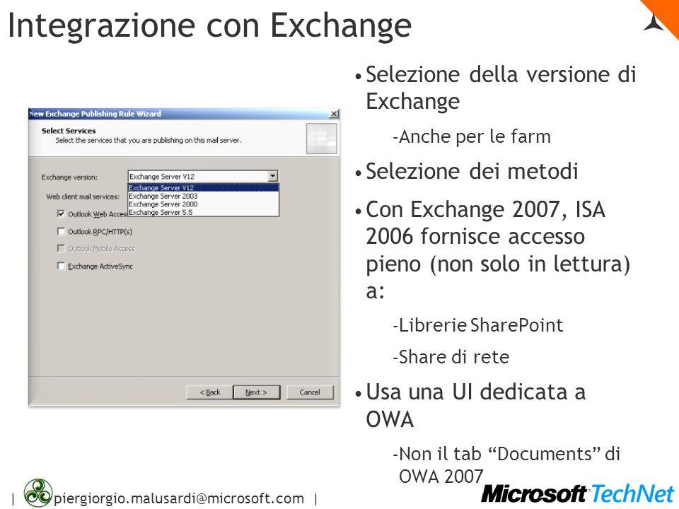 | piergiorgio.malusardi@microsoft.com | Integrazione con Exchange Selezione della versione di Exchange – Anche per le farm Selezione dei metodi Con Ex