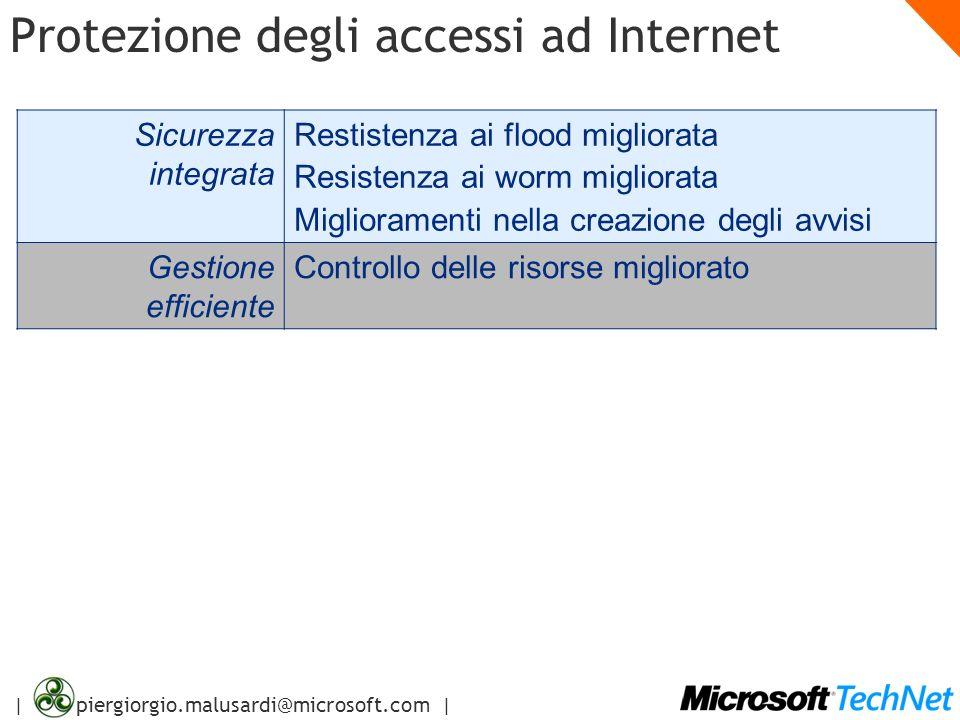 | piergiorgio.malusardi@microsoft.com | Protezione degli accessi ad Internet Sicurezza integrata Restistenza ai flood migliorata Resistenza ai worm mi