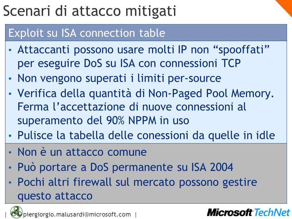 | piergiorgio.malusardi@microsoft.com | Scenari di attacco mitigati Exploit su ISA connection table Attaccanti possono usare molti IP non spooffati pe