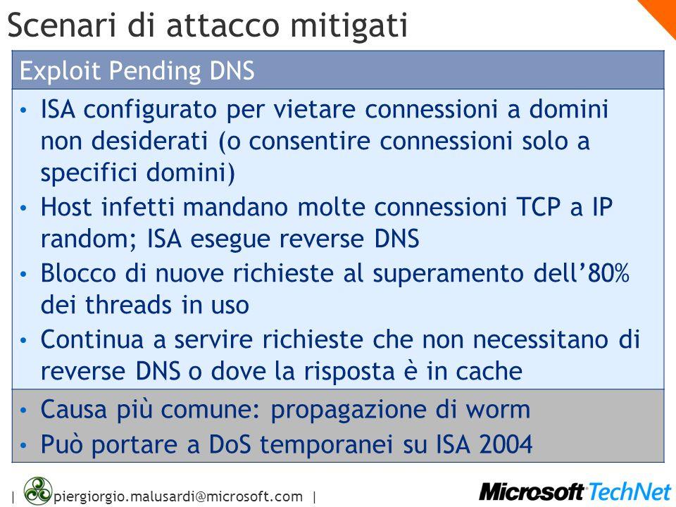 | piergiorgio.malusardi@microsoft.com | Scenari di attacco mitigati Exploit Pending DNS ISA configurato per vietare connessioni a domini non desiderat