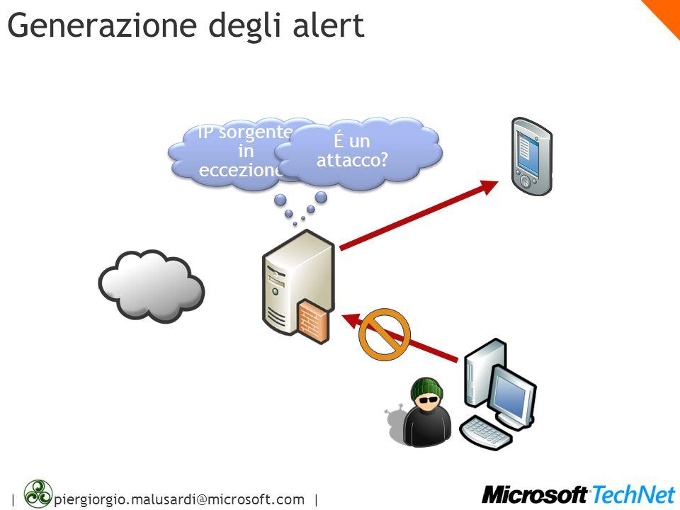 | piergiorgio.malusardi@microsoft.com | Generazione degli alert IP sorgente in eccezione? É un attacco?