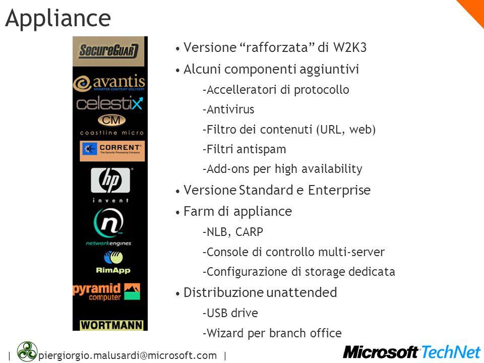 | piergiorgio.malusardi@microsoft.com | Appliance Versione rafforzata di W2K3 Alcuni componenti aggiuntivi – Accelleratori di protocollo – Antivirus –