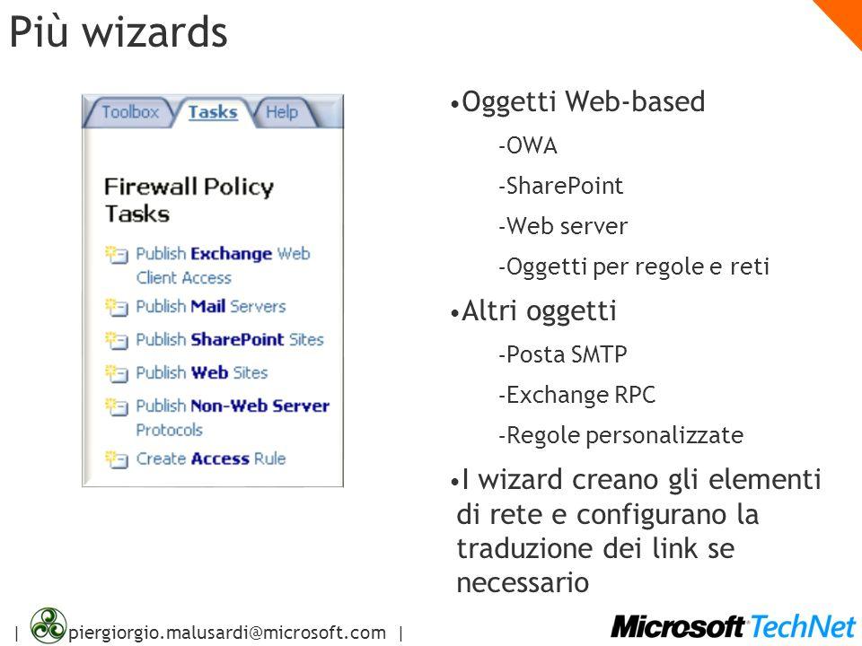 | piergiorgio.malusardi@microsoft.com | Più wizards Oggetti Web-based – OWA – SharePoint – Web server – Oggetti per regole e reti Altri oggetti – Post
