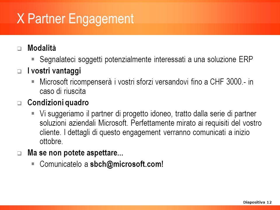 Diapositiva 12 X Partner Engagement Modalità Segnalateci soggetti potenzialmente interessati a una soluzione ERP I vostri vantaggi Microsoft ricompenserà i vostri sforzi versandovi fino a CHF 3000.- in caso di riuscita Condizioni quadro Vi suggeriamo il partner di progetto idoneo, tratto dalla serie di partner soluzioni aziendali Microsoft.