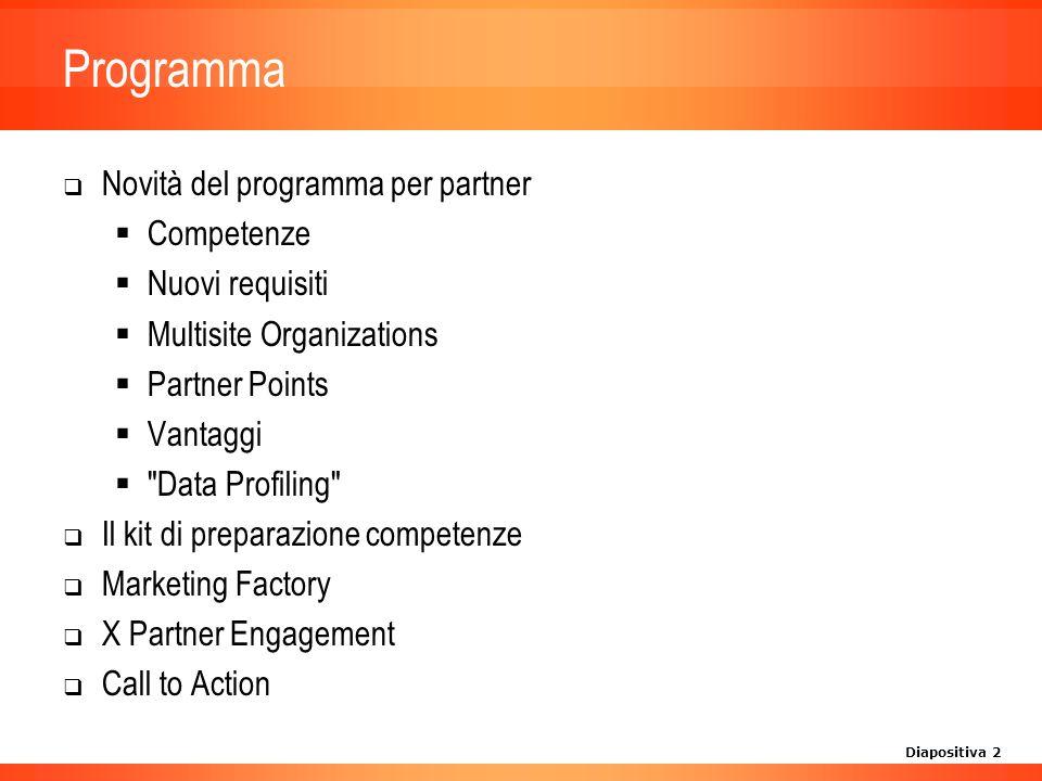 Diapositiva 13 Call to Action Preparatevi per entrare nel programma di arruolamento per partner Microsoft a fine anno Frequentate i nostri corsi di addestramento per la preparazione sulle competenze Venite assieme ai vostri colleghi alla serie di eventi informativi per partner Microsoft.