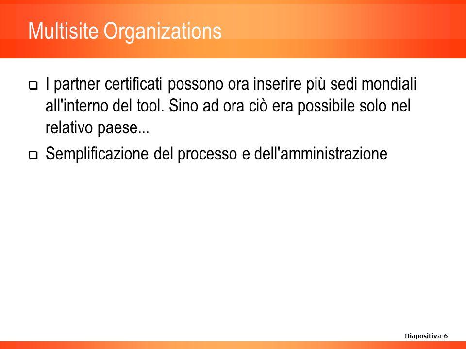 Diapositiva 6 Multisite Organizations I partner certificati possono ora inserire più sedi mondiali all interno del tool.