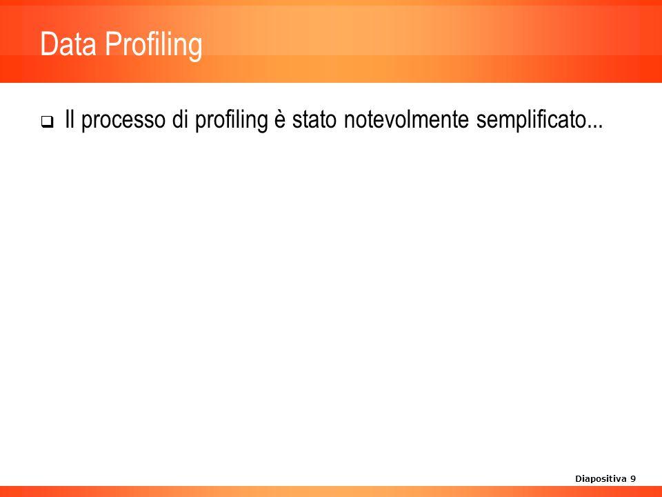 Diapositiva 9 Data Profiling Il processo di profiling è stato notevolmente semplificato...