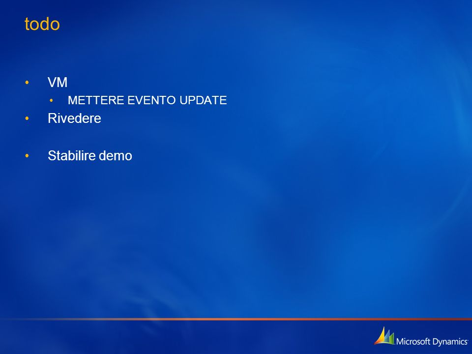 Gestione dei report Gestione dei report (in CRM) Create Update Delete Categorize Associate with UI Show any report types inside CRM Integration client and server side SAP, Excel, Pivotal, Business Objects… Bulk publish (PublishReports.exe) Bulk download (DownloadReports.exe)