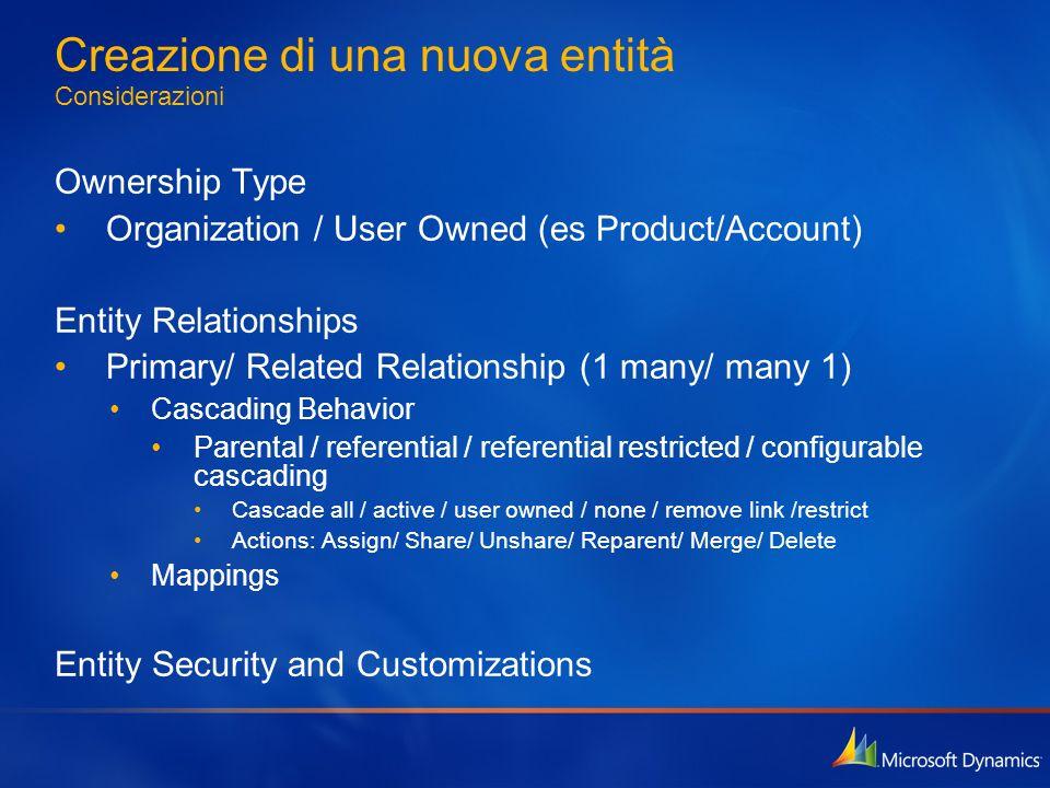 Creazione di una nuova entità Considerazioni Ownership Type Organization / User Owned (es Product/Account) Entity Relationships Primary/ Related Relat