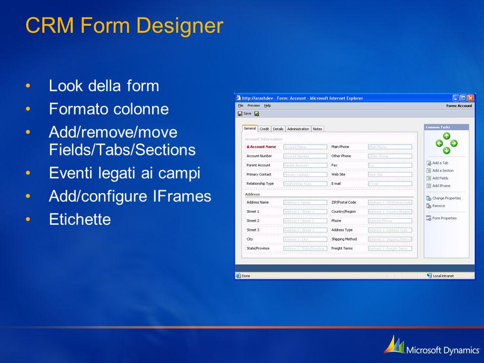 CRM Form Designer Look della form Formato colonne Add/remove/move Fields/Tabs/Sections Eventi legati ai campi Add/configure IFrames Etichette