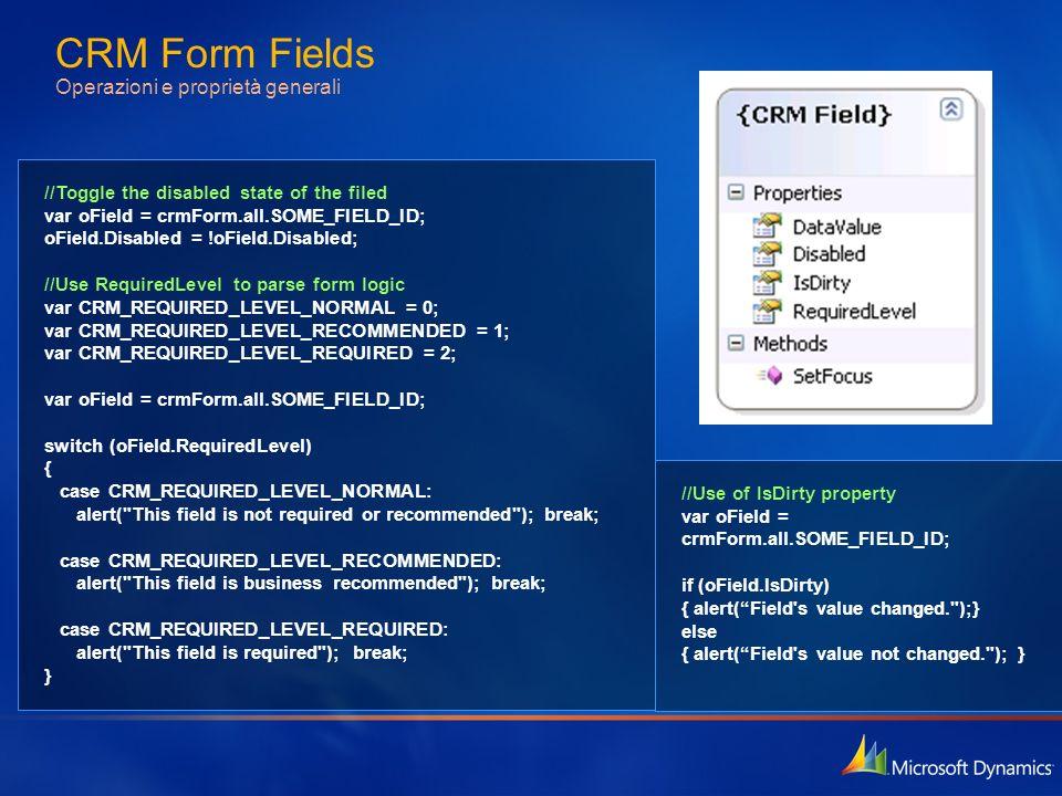 CRM Form Fields Operazioni e proprietà generali //Toggle the disabled state of the filed var oField = crmForm.all.SOME_FIELD_ID; oField.Disabled = !oF