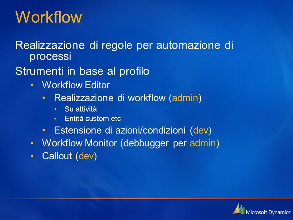 Workflow Realizzazione di regole per automazione di processi Strumenti in base al profilo Workflow Editor Realizzazione di workflow (admin) Su attivit