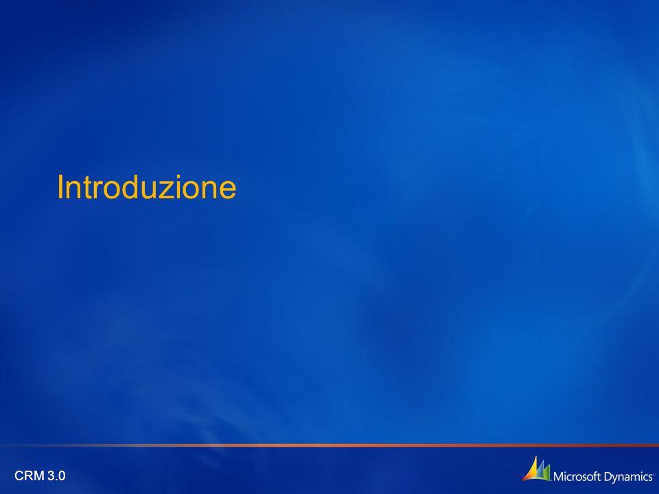 Configurabile con il tuo business Facilmente adattabile ai processi aziendali Framework completamente personalizzabile Motore di workflow e analitico Tecnologicamente avanzato Gestione centralizzata e semplificata Architettura SOA Facile integrazione Adattabile al tuo modo di operare Esperienza nativa Office e Outlook Semplice e utilizzabile off-line VenditeServizio Marketing Una completa soluzione di CRM che utilizza la potenza e la produtttività della piattaforma Microsoft.