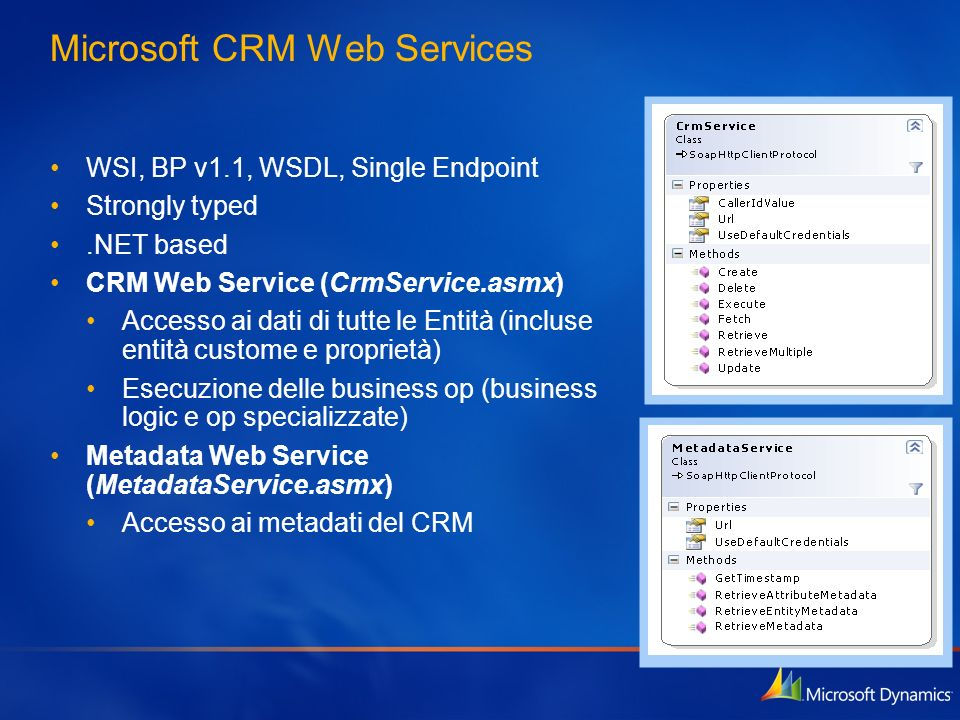 Microsoft CRM Web Services WSI, BP v1.1, WSDL, Single Endpoint Strongly typed.NET based CRM Web Service (CrmService.asmx) Accesso ai dati di tutte le