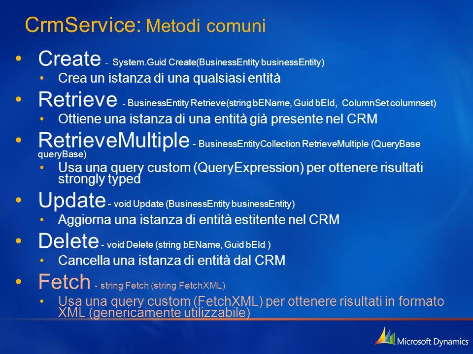 CrmService: Metodi comuni Create - System.Guid Create(BusinessEntity businessEntity) Crea un istanza di una qualsiasi entità Retrieve - BusinessEntity