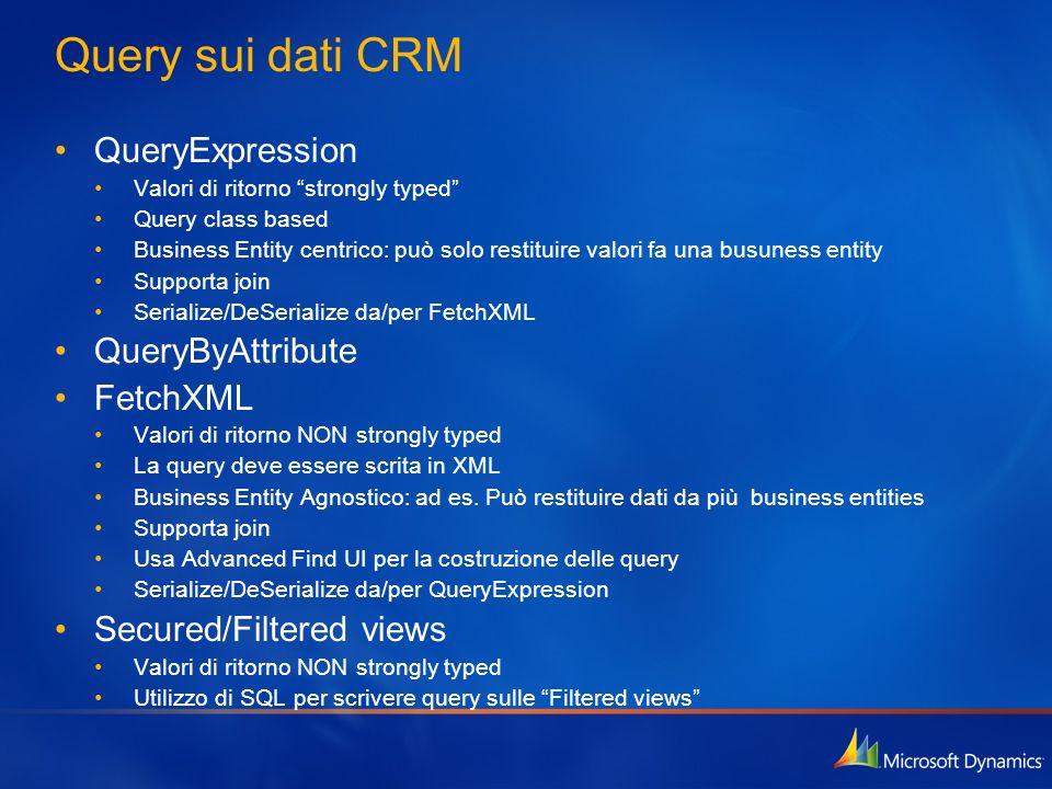Query sui dati CRM QueryExpression Valori di ritorno strongly typed Query class based Business Entity centrico: può solo restituire valori fa una busu