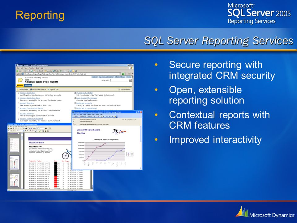 Reporting Secure reporting with integrated CRM security Open, extensible reporting solution Contextual reports with CRM features Improved interactivit