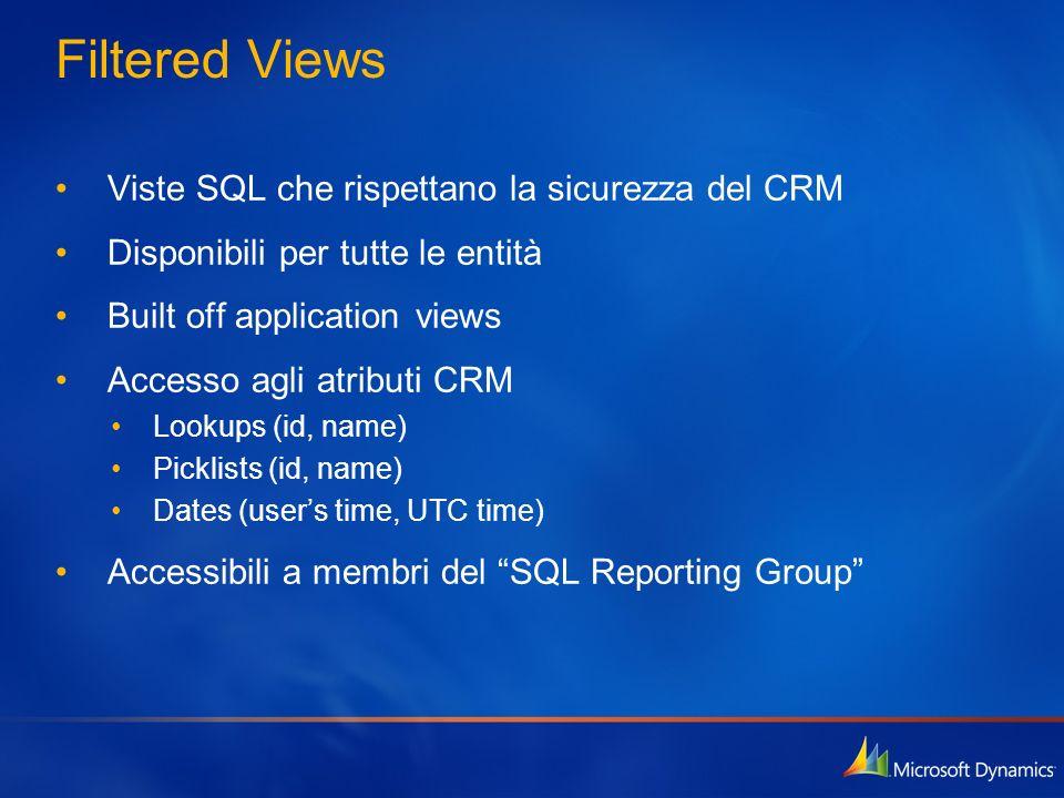 Filtered Views Viste SQL che rispettano la sicurezza del CRM Disponibili per tutte le entità Built off application views Accesso agli atributi CRM Loo