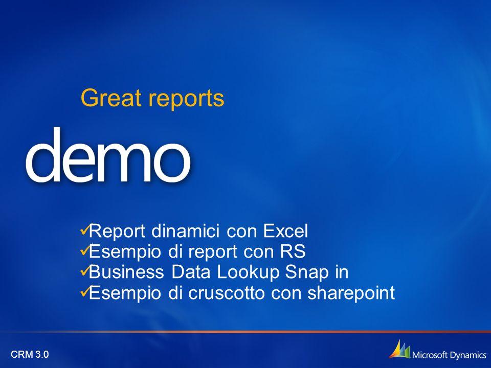 CRM 3.0 Great reports Report dinamici con Excel Esempio di report con RS Business Data Lookup Snap in Esempio di cruscotto con sharepoint
