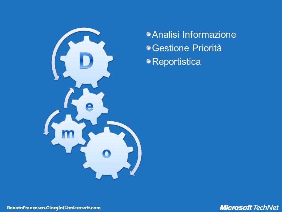RenatoFrancesco.Giorgini@microsoft.com Analisi Informazione Gestione Priorità Reportistica