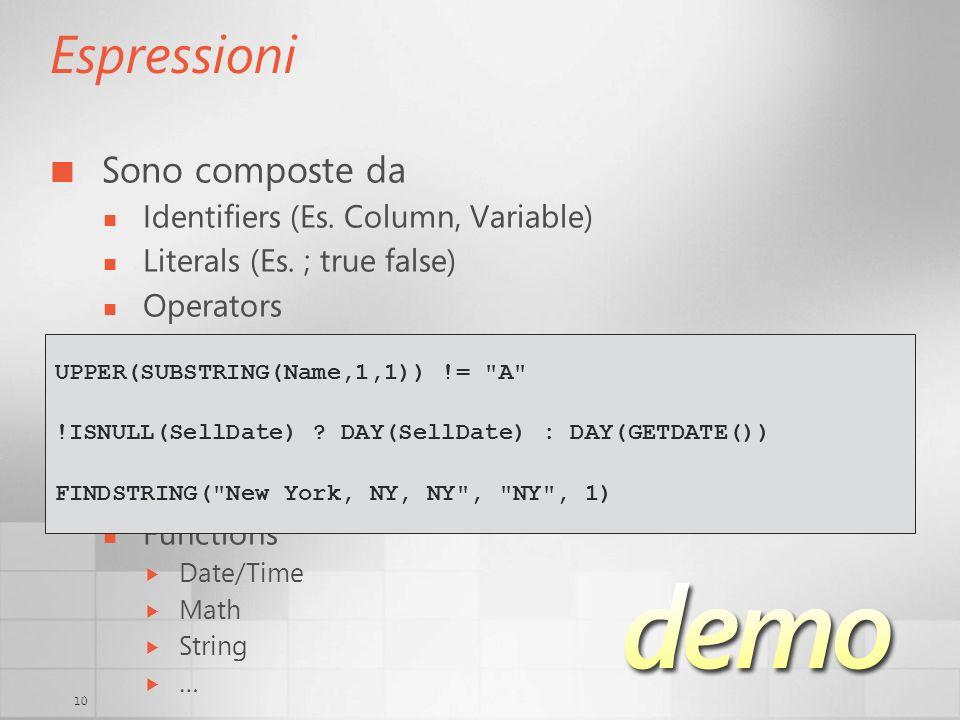 10 Espressioni Sono composte da Identifiers (Es. Column, Variable) Literals (Es.
