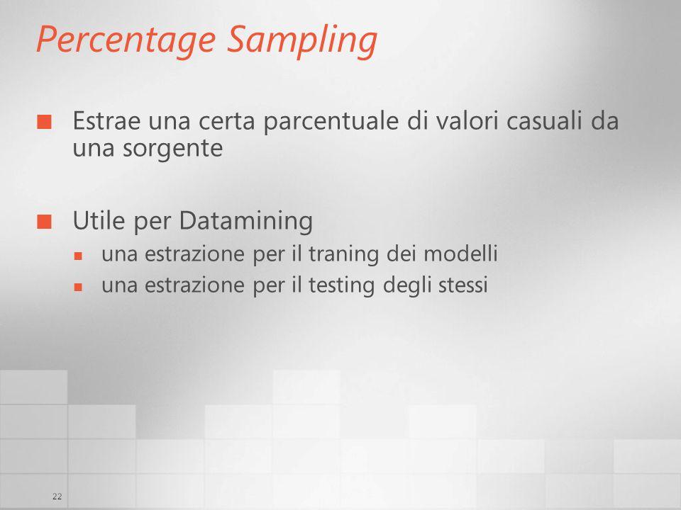 22 Percentage Sampling Estrae una certa parcentuale di valori casuali da una sorgente Utile per Datamining una estrazione per il traning dei modelli una estrazione per il testing degli stessi