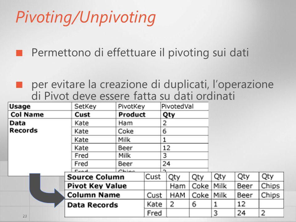 23 Pivoting/Unpivoting Permettono di effettuare il pivoting sui dati per evitare la creazione di duplicati, loperazione di Pivot deve essere fatta su dati ordinati