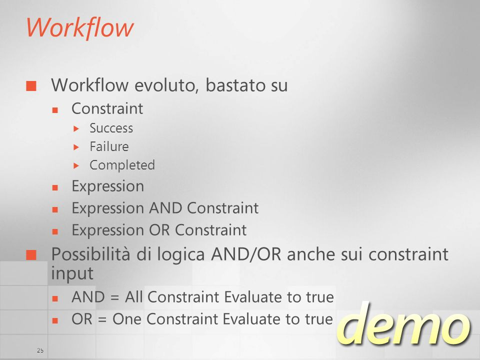 25 Workflow Workflow evoluto, bastato su Constraint Success Failure Completed Expression Expression AND Constraint Expression OR Constraint Possibilità di logica AND/OR anche sui constraint input AND = All Constraint Evaluate to true OR = One Constraint Evaluate to true