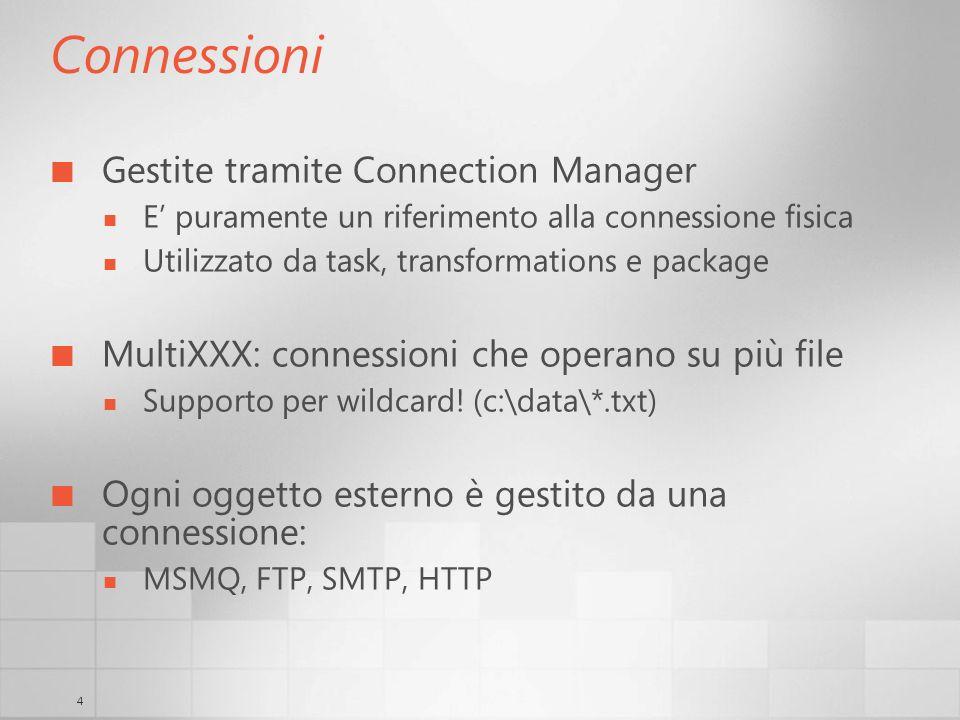 4 Connessioni Gestite tramite Connection Manager E puramente un riferimento alla connessione fisica Utilizzato da task, transformations e package MultiXXX: connessioni che operano su più file Supporto per wildcard.