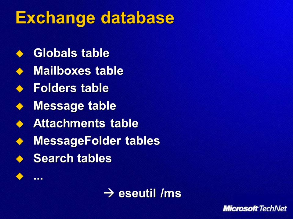 Exchange database Globals table Globals table Mailboxes table Mailboxes table Folders table Folders table Message table Message table Attachments table Attachments table MessageFolder tables MessageFolder tables Search tables Search tables......