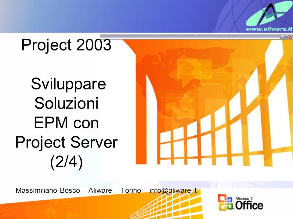 Massimiliano Bosco – Aliware – Torino – info@aliware.it Project 2003 Sviluppare Soluzioni EPM con Project Server (2/4)