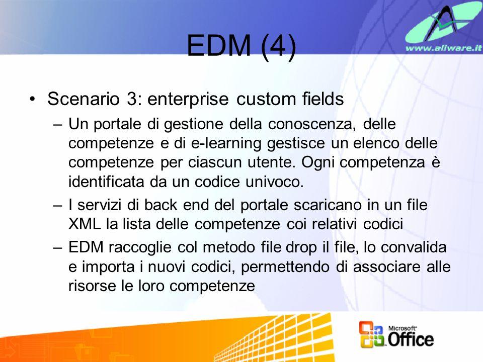 EDM (4) Scenario 3: enterprise custom fields –Un portale di gestione della conoscenza, delle competenze e di e-learning gestisce un elenco delle competenze per ciascun utente.