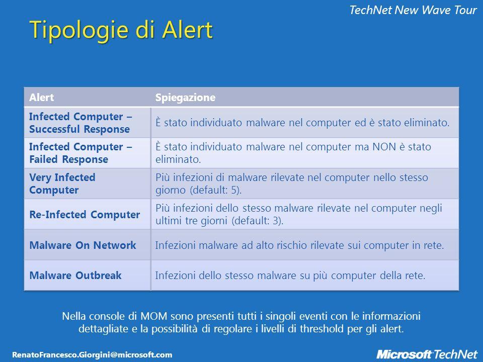 RenatoFrancesco.Giorgini@microsoft.com TechNet New Wave Tour Tipologie di Alert Nella console di MOM sono presenti tutti i singoli eventi con le informazioni dettagliate e la possibilità di regolare i livelli di threshold per gli alert.
