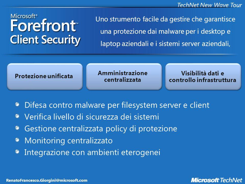 RenatoFrancesco.Giorgini@microsoft.com TechNet New Wave Tour Architettura Forefront Client Security