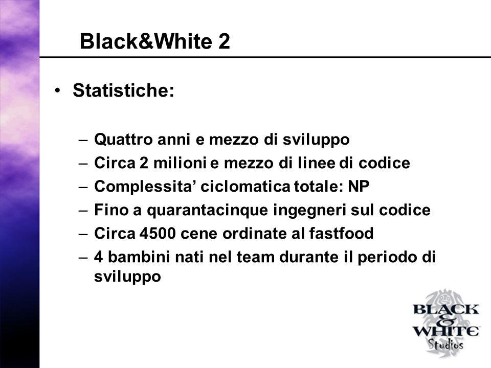Black&White 2 Statistiche: –Quattro anni e mezzo di sviluppo –Circa 2 milioni e mezzo di linee di codice –Complessita ciclomatica totale: NP –Fino a quarantacinque ingegneri sul codice –Circa 4500 cene ordinate al fastfood –4 bambini nati nel team durante il periodo di sviluppo