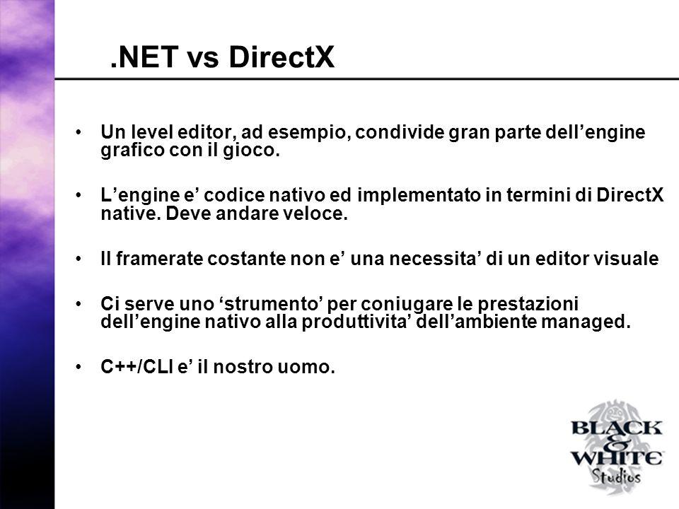 .NET vs DirectX Un level editor, ad esempio, condivide gran parte dellengine grafico con il gioco.